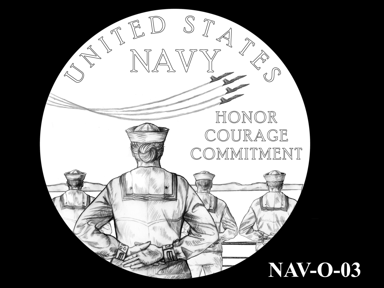 NAV-O-03 -- 2021 United States Navy Silver Medal  - Obverse