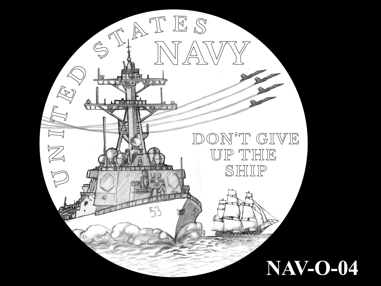 NAV-O-04 -- 2021 United States Navy Silver Medal  - Obverse