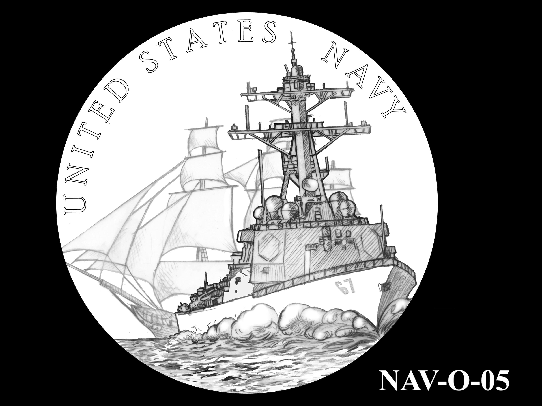 NAV-O-05 -- 2021 United States Navy Silver Medal  - Obverse