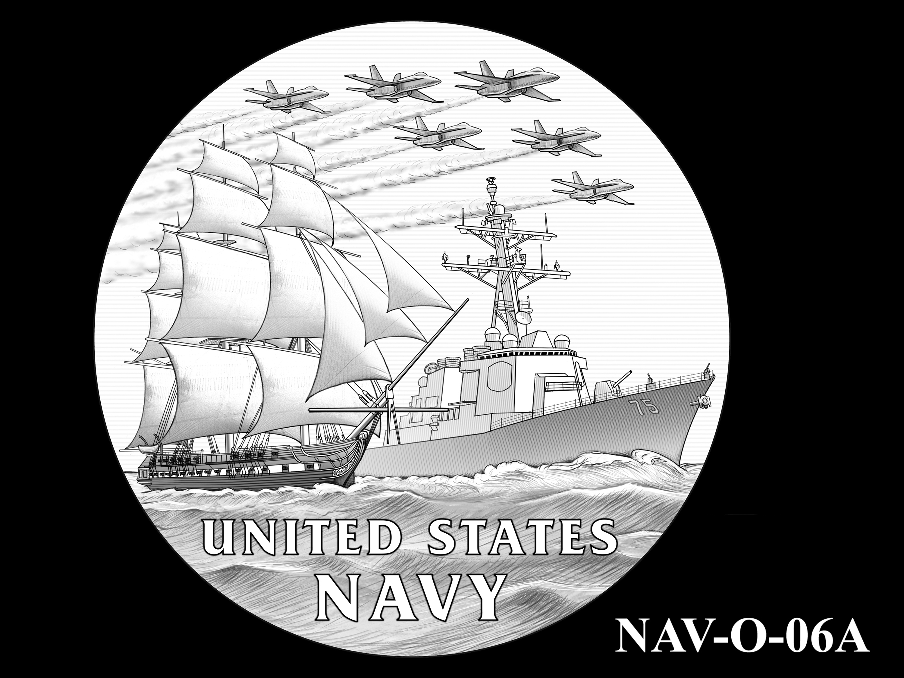 NAV-O-06A -- 2021 United States Navy Silver Medal  - Obverse