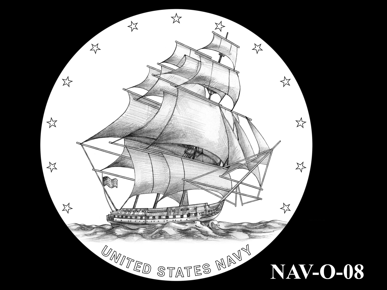 NAV-O-08 -- 2021 United States Navy Silver Medal  - Obverse