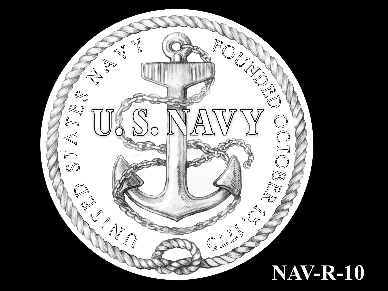 NAV-R-10 -- 2021 United States Navy Silver Medal  - Reverse