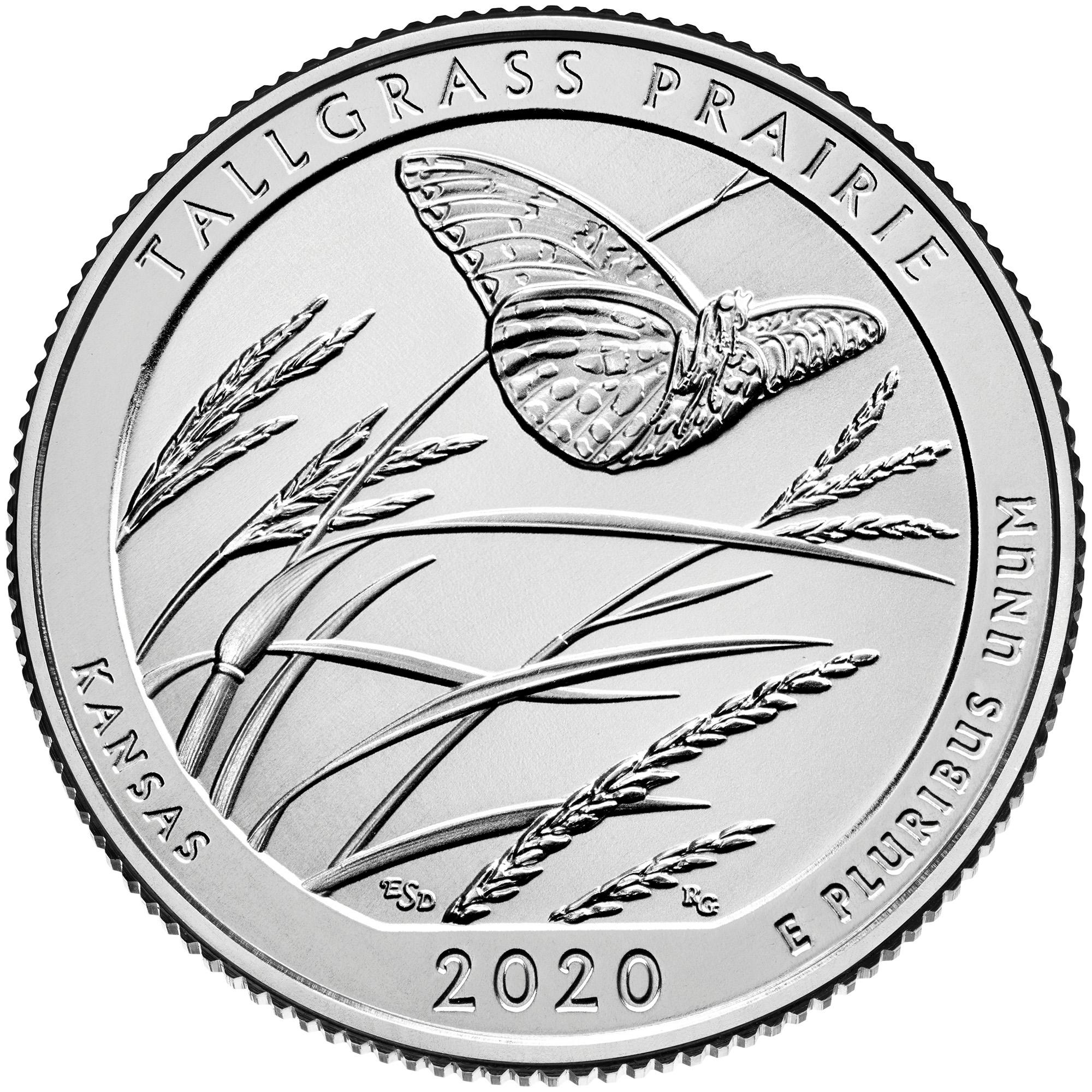 2020 America the Beautiful Quarters Coin Tallgrass Prairie Kansas Uncirculated Reverse