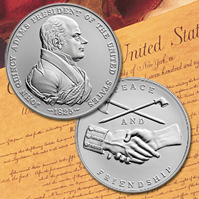 John Quincy Adams Presidential Silver Medal obverse and reverse