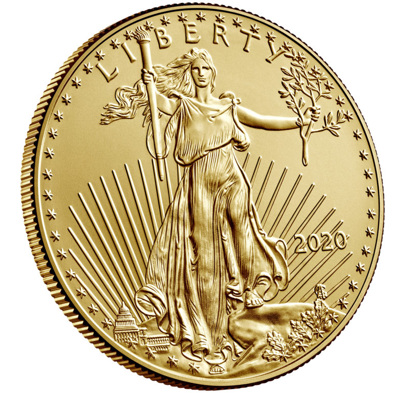 2020 American Eagle Gold One Ounce Bullion Coin Obverse Angle