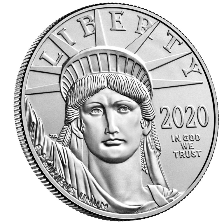 2020 American Eagle Platinum One Ounce Bullion Coin Obverse Angle