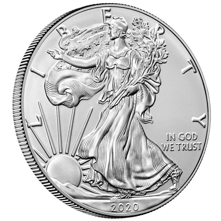 2020 American Eagle Silver One Ounce Bullion Coin Obverse Angle