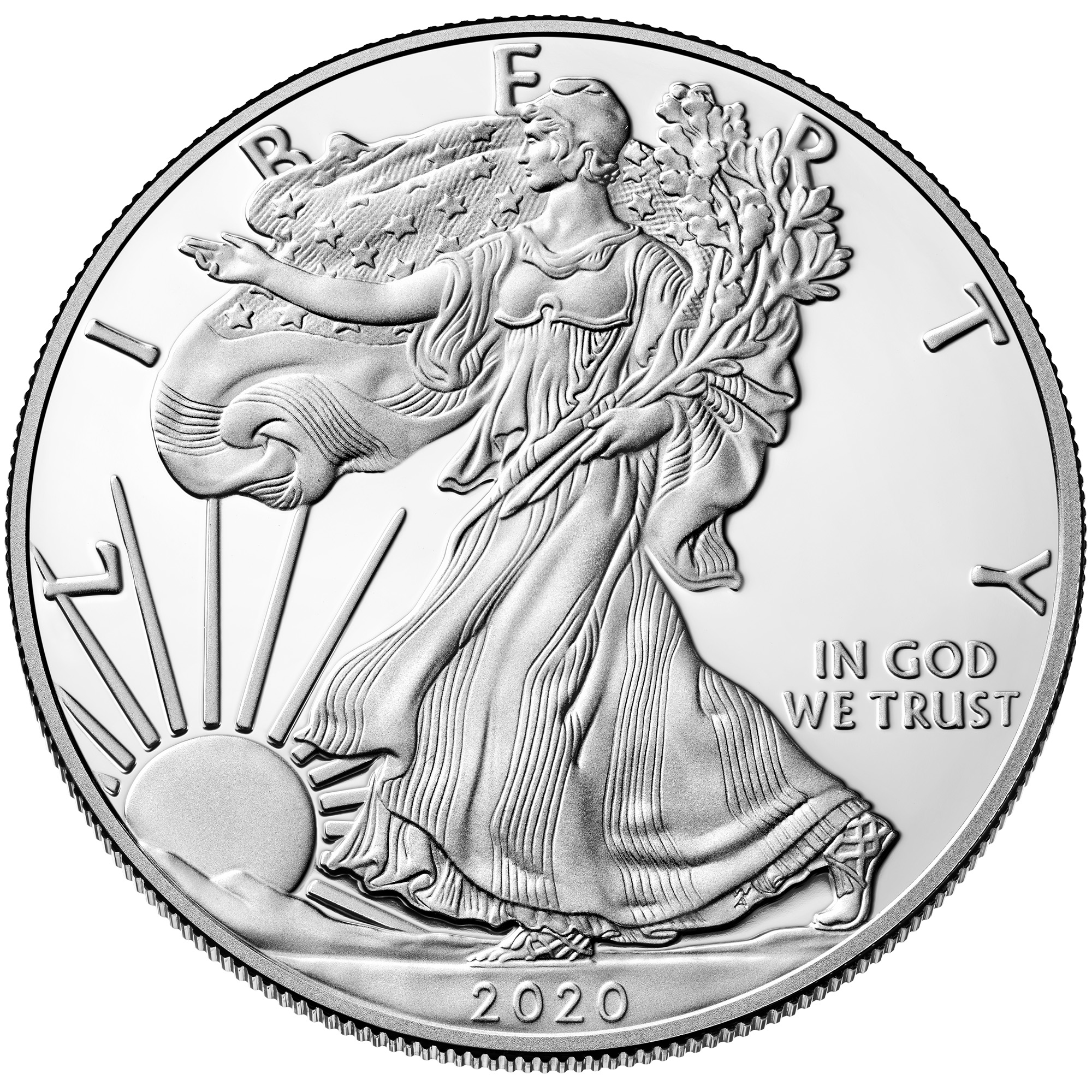 2020 American Eagle Silver One Ounce Proof Coin Obverse