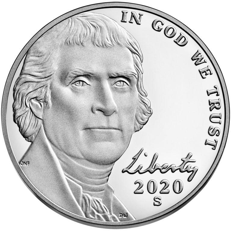 2020 Jefferson Nickel Proof Obverse San Francisco
