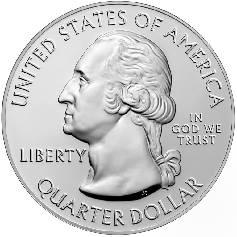 2020 America the Beautiful Quarters Five Ounce Silver Bullion Coin Obverse