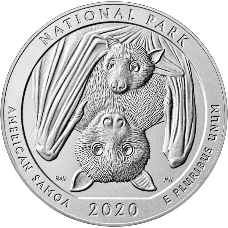 2020 America the Beautiful Quarters Five Ounce Silver Uncirculated Coin National Park American Samoa Reverse