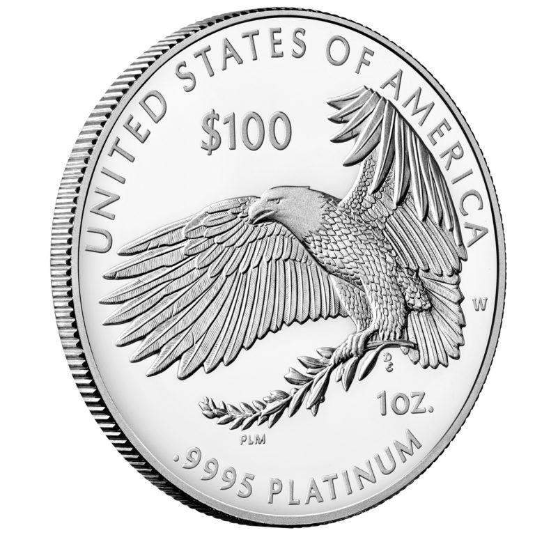 2020 American Eagle Platinum One Ounce Proof Coin Reverse Angle