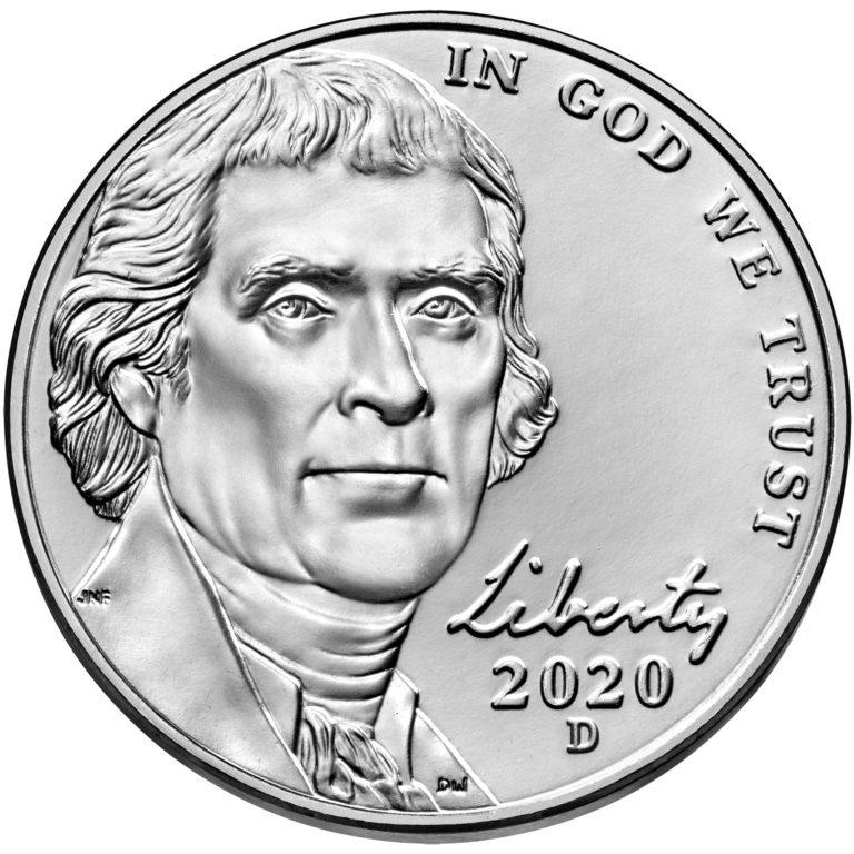 2020 Jefferson Nickel Uncirculated Obverse Denver