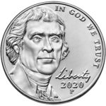 2020 Jefferson Nickel Uncirculated Obverse Philadelphia