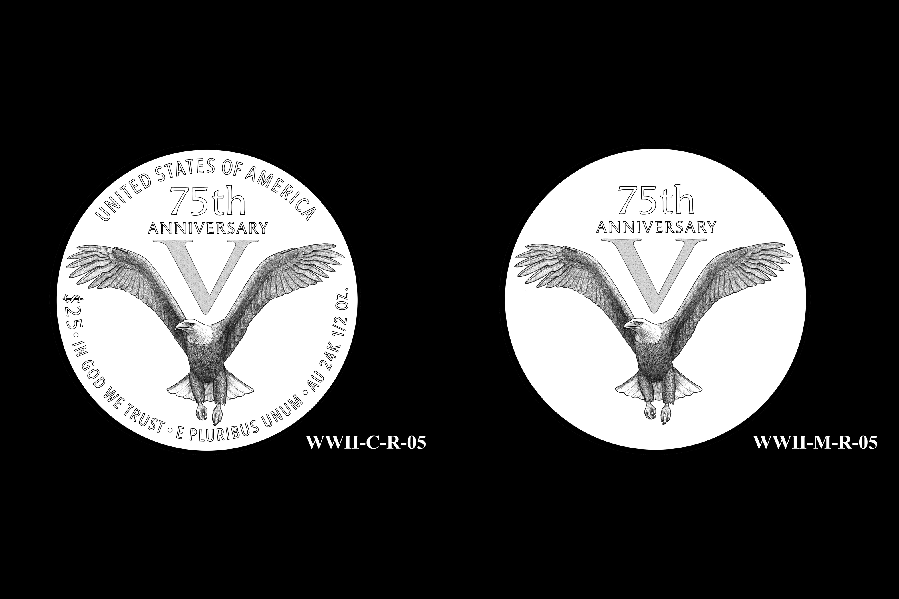 WWII-C-R-05 and WWII-M-R-05 -- End of World War II 75th Anniversary Program - Reverse