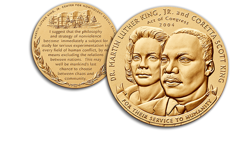 Martin Luther King Jr MLK and Corretta Scott King medal homepage foreground image