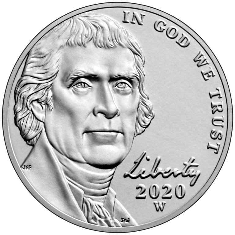 2020 Jefferson Nickel Uncirculated Obverse West Point