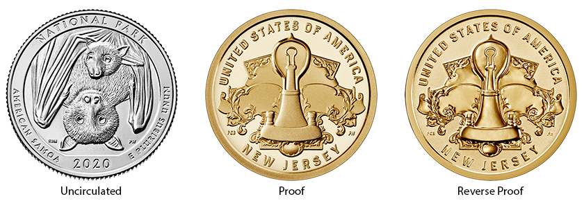 coin finishes, uncirculated, proof, and reverse proof