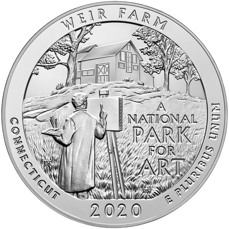 2020 America the Beautiful Quarters Five Ounce Silver Bullion Coin Weir Farm Connecticut Reverse