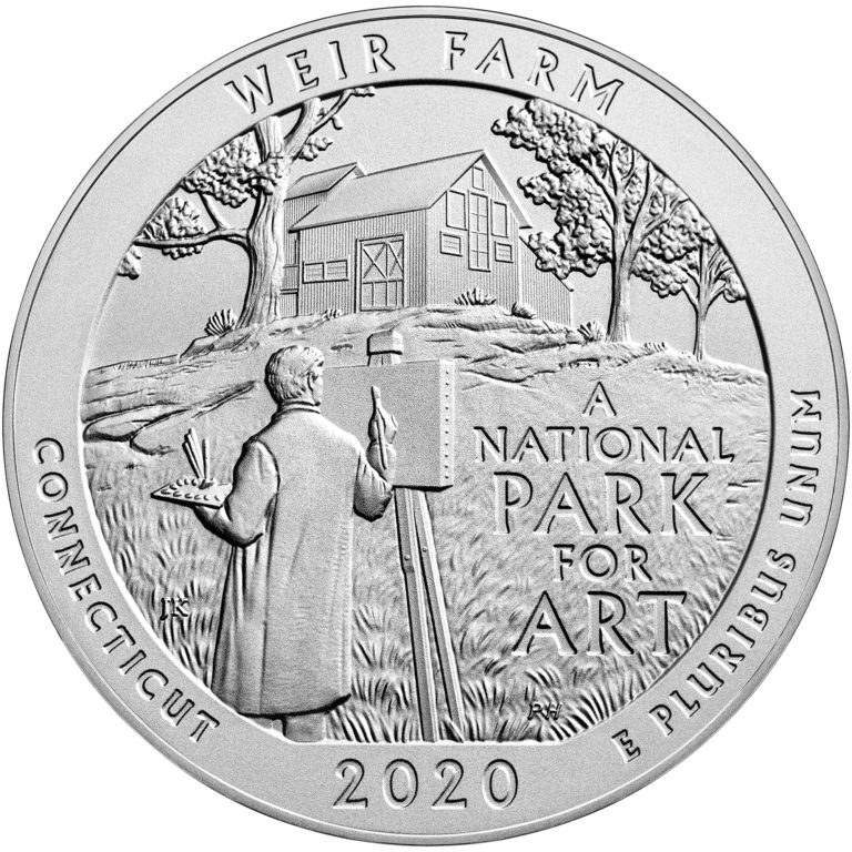 2020 America the Beautiful Quarters Five Ounce Silver Uncirculated Coin Weir Farm Connecticut Reverse