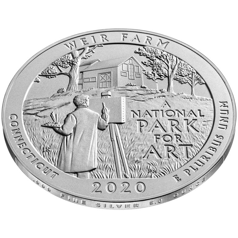 2020 America the Beautiful Quarters Five Ounce Silver Uncirculated Coin Weir Farm Connecticut Reverse Angle