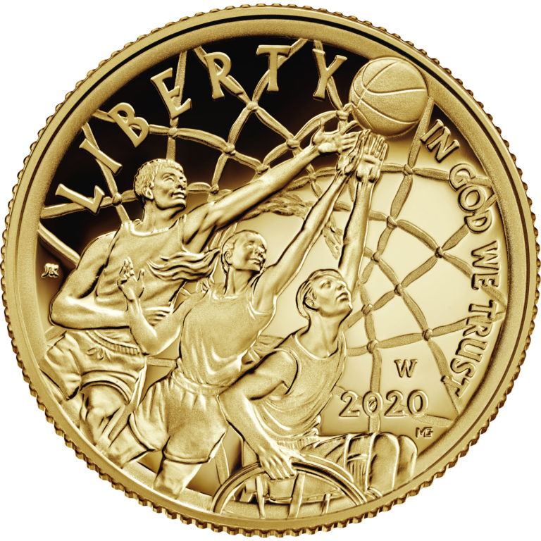 2020 Basketball Hall of Fame Commemorative Gold Five Dollar Proof Obverse