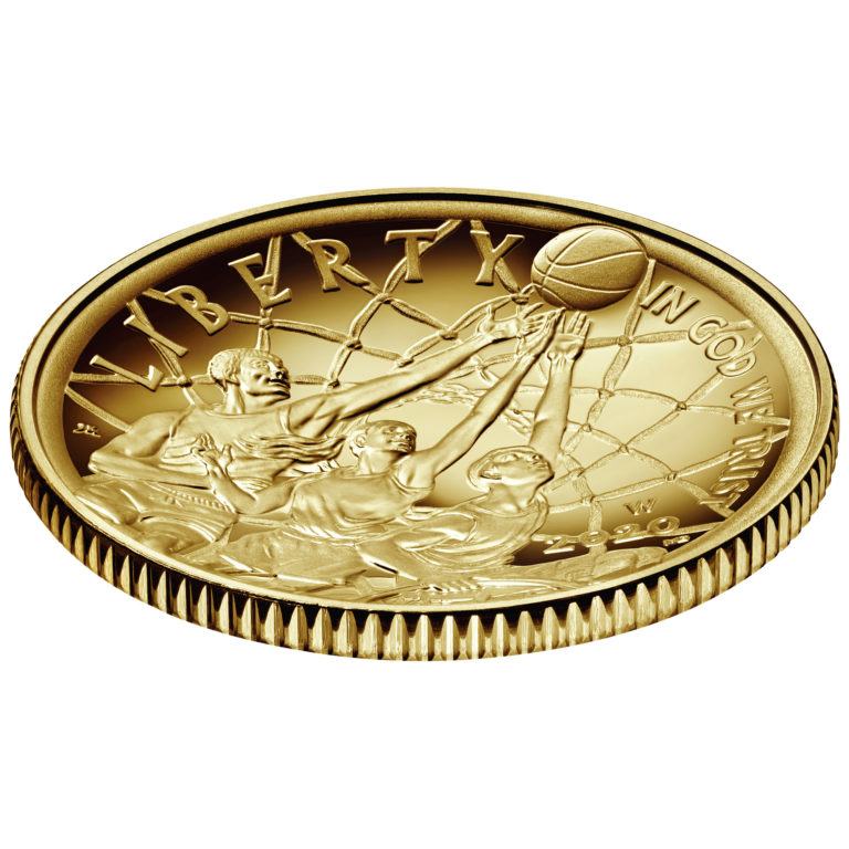 2020 Basketball Hall of Fame Commemorative Gold Five Dollar Proof Obverse Angle