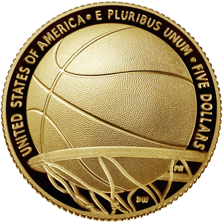 2020 Basketball Hall of Fame Commemorative Gold Five Dollar Proof Reverse