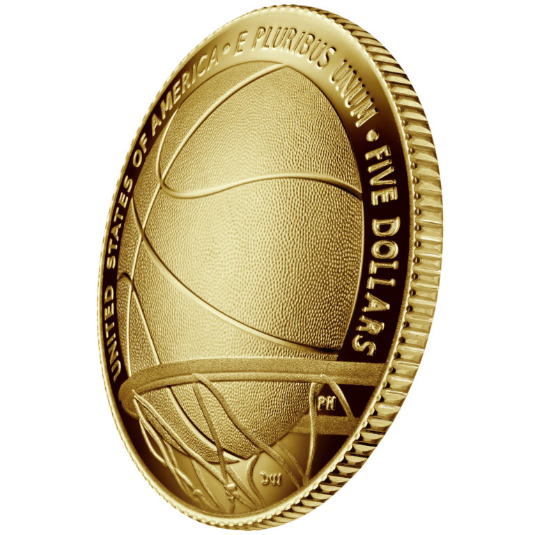 2020 Basketball Hall of Fame Commemorative Gold Five Dollar Proof Reverse Angle