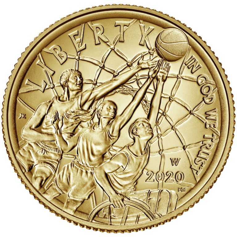 2020 Basketball Hall of Fame Commemorative Gold Five Dollar Uncirculated Obverse