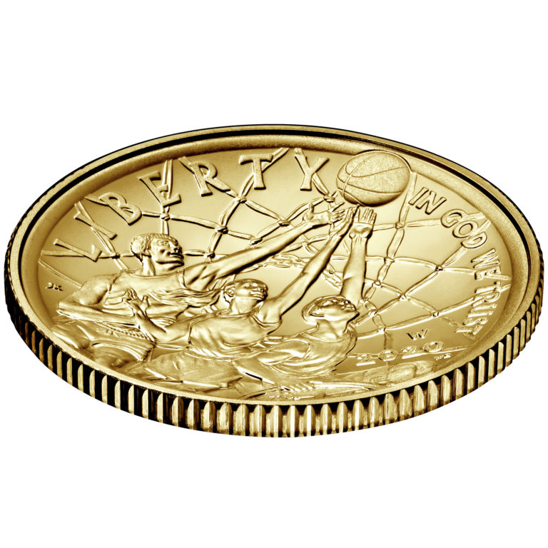2020 Basketball Hall of Fame Commemorative Gold Five Dollar Uncirculated Obverse Angle