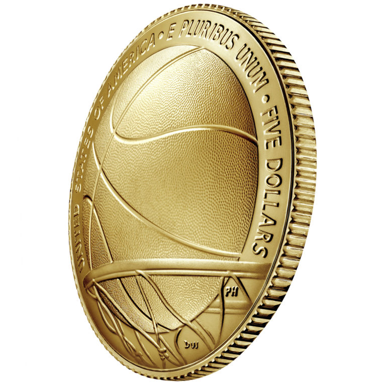 2020 Basketball Hall of Fame Commemorative Gold Five Dollar Uncirculated Reverse Angle