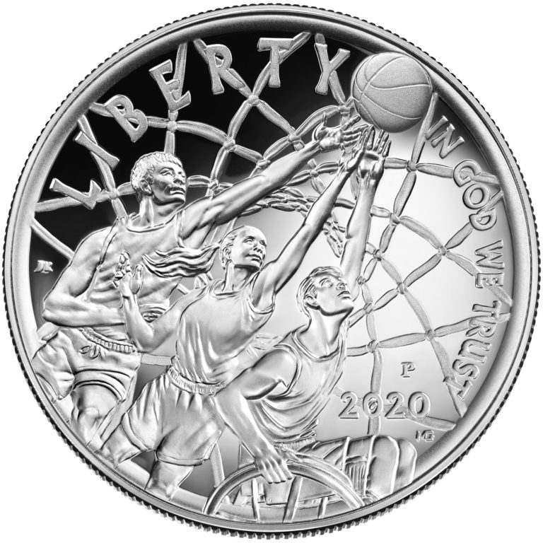 2020 Basketball Hall of Fame Commemorative Silver One Dollar Proof Obverse