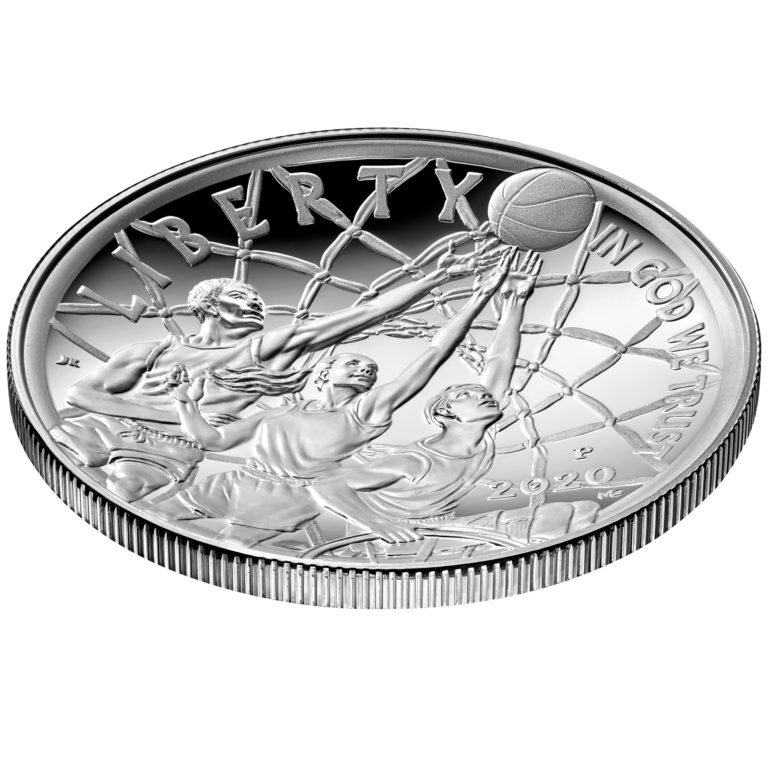 2020 Basketball Hall of Fame Commemorative Silver One Dollar Proof Obverse Angle