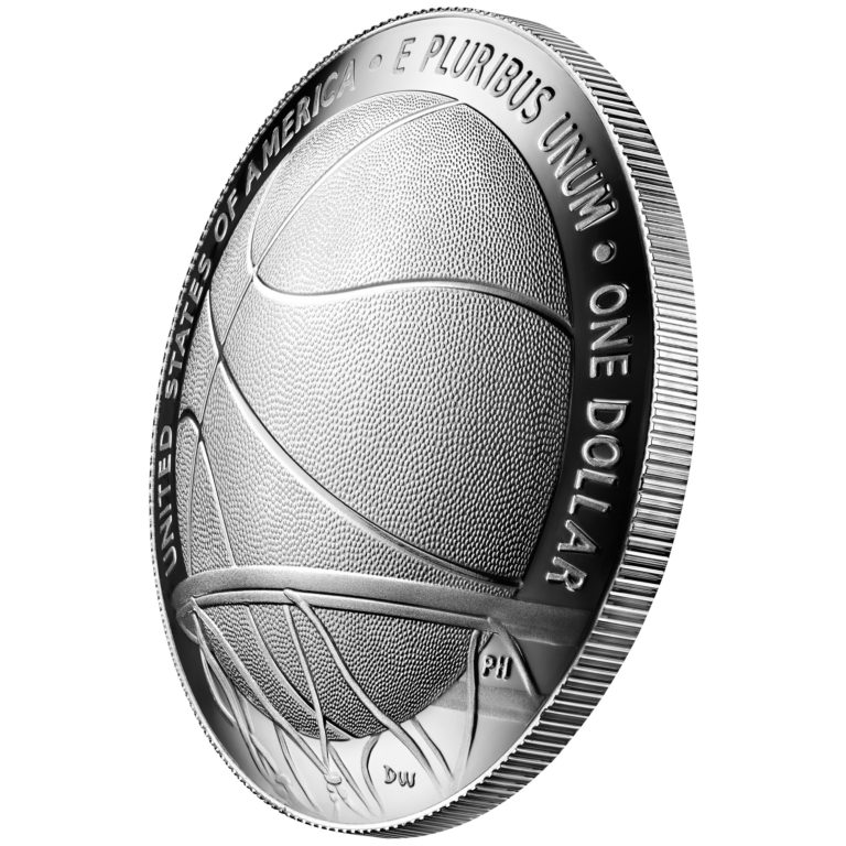 2020 Basketball Hall of Fame Commemorative Silver One Dollar Proof Reverse Angle