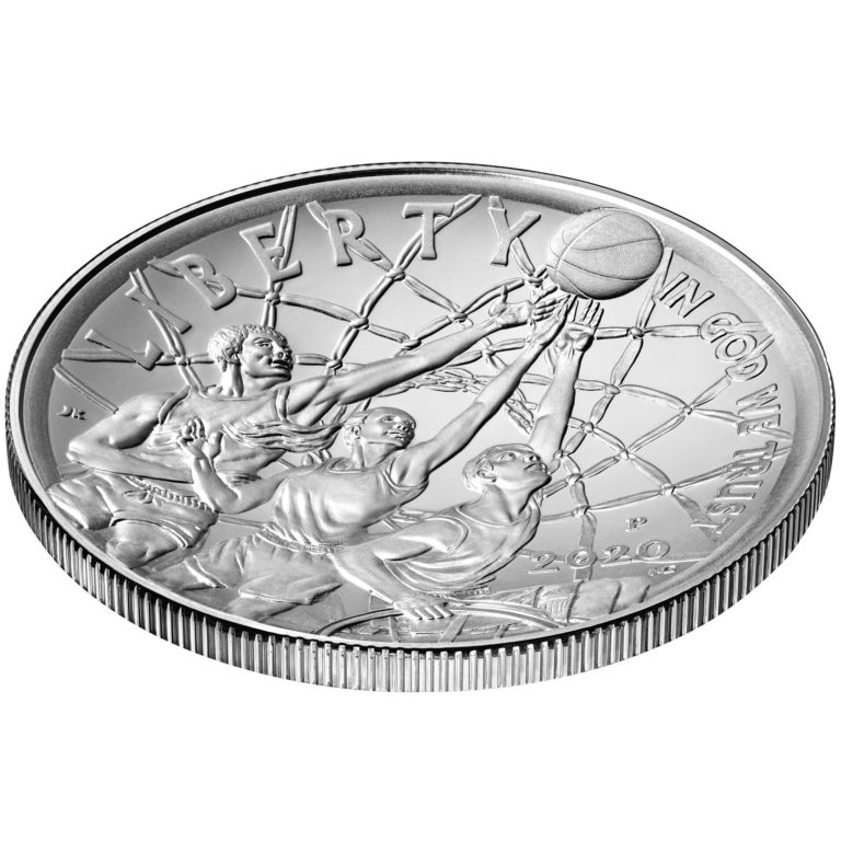 2020 Basketball Hall of Fame Commemorative Silver One Dollar Uncirculated Obverse Angle