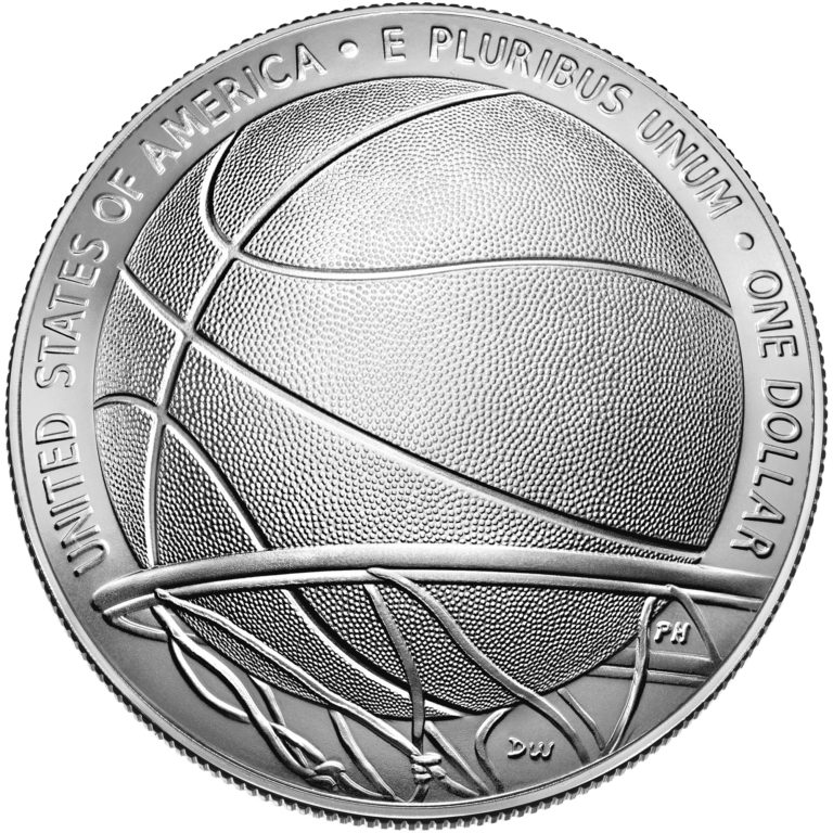 2020 Basketball Hall of Fame Commemorative Silver One Dollar Uncirculated Reverse