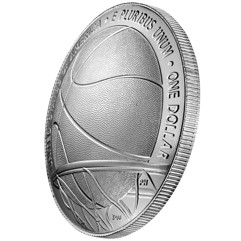 2020 Basketball Hall of Fame Commemorative Silver One Dollar Uncirculated Reverse Angle