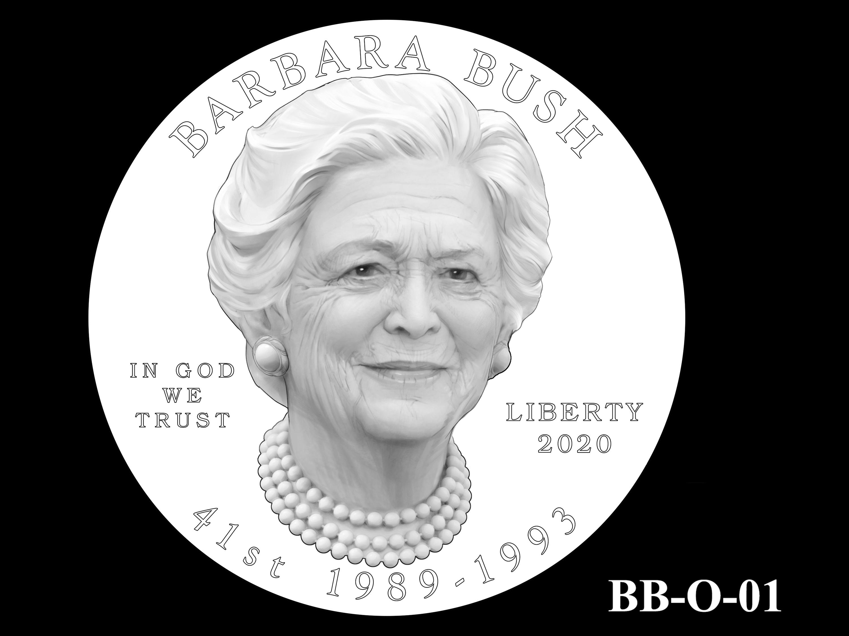 BB-O-01 -- Barbara Bush Gold Coin and Bronze Medal - Obverse
