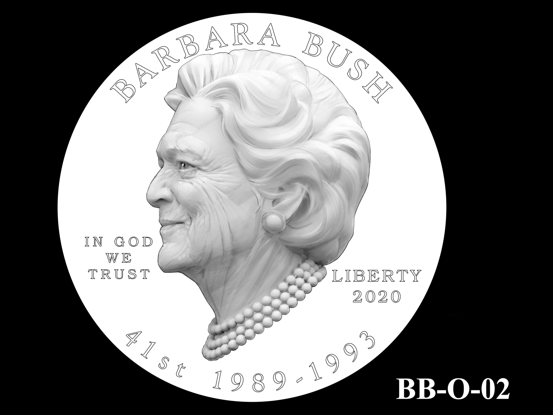 BB-O-02 -- Barbara Bush Gold Coin and Bronze Medal - Obverse