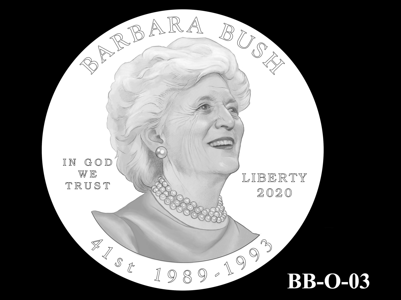 BB-O-03 -- Barbara Bush Gold Coin and Bronze Medal - Obverse