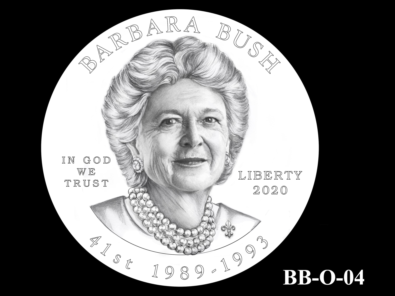 BB-O-04 -- Barbara Bush Gold Coin and Bronze Medal - Obverse