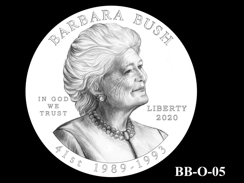BB-O-05 -- Barbara Bush Gold Coin and Bronze Medal - Obverse