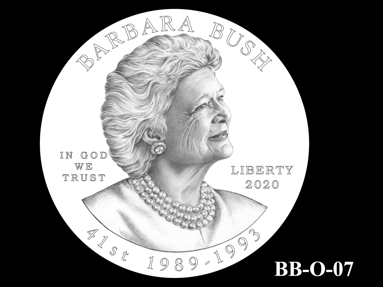 BB-O-07 -- Barbara Bush Gold Coin and Bronze Medal - Obverse