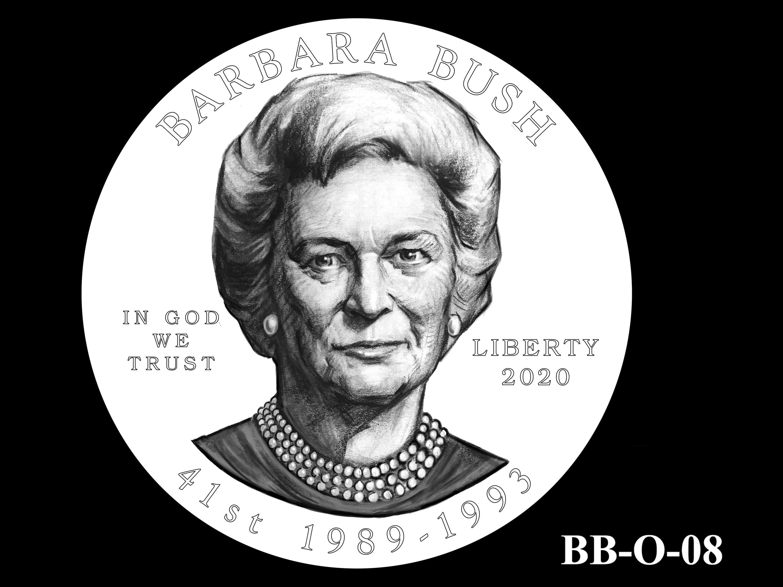 BB-O-08 -- Barbara Bush Gold Coin and Bronze Medal - Obverse