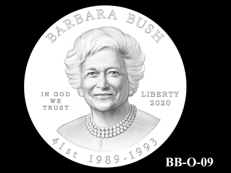 BB-O-09 -- Barbara Bush Gold Coin and Bronze Medal - Obverse