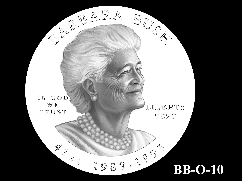 BB-O-10 -- Barbara Bush Gold Coin and Bronze Medal - Obverse