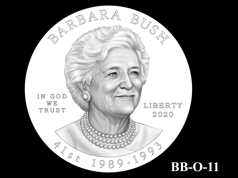 BB-O-11 -- Barbara Bush Gold Coin and Bronze Medal - Obverse