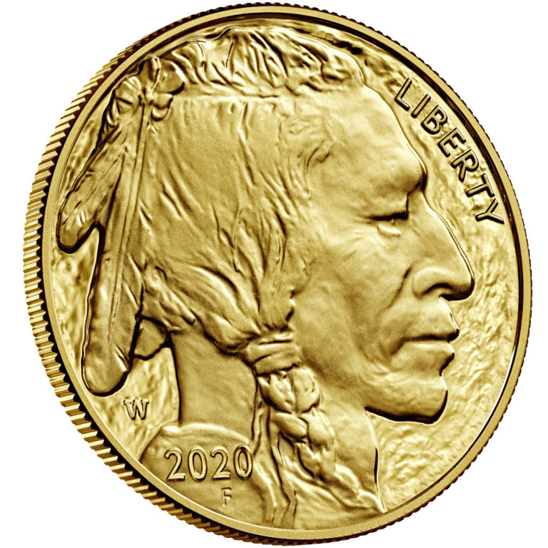 2020 American Buffalo One Ounce Gold Proof Coin Obverse Angle