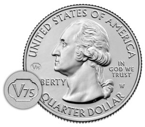 """v75"" end of world war ii privy mark on 2020 america the beautiful west point quarters obverse"